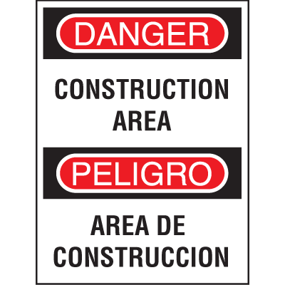 Bilingual Safety Signs - Construction Area