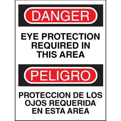 Bilingual Safety Signs - Danger/Peligro - Eye Protection Required