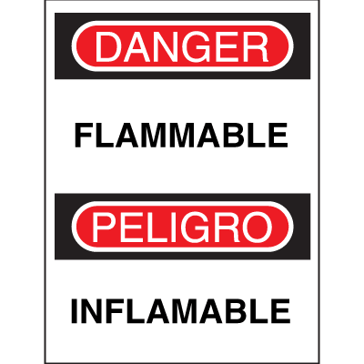 Bilingual Safety Signs - Danger/Peligro - Flammable
