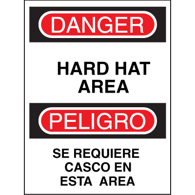 Bilingual Safety Signs - Danger/Peligro - Hard Hat Area