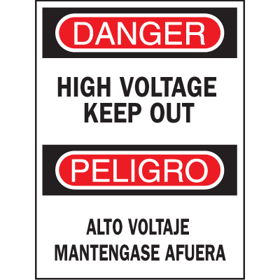 Bilingual Safety Signs - High Voltage Keep Out