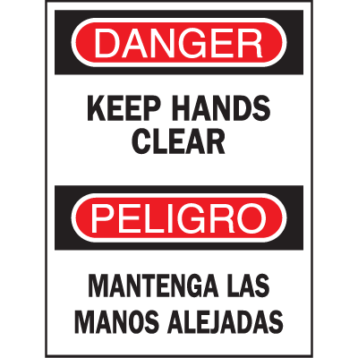 Bilingual Safety Signs - Danger/Peligro - Keep Hands Clear