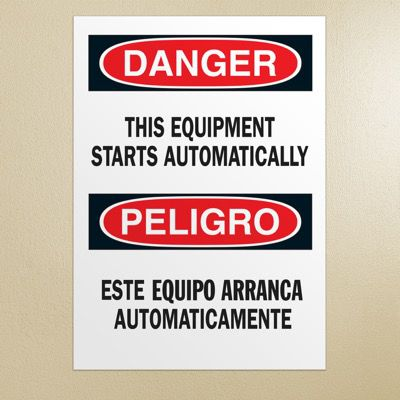 Bilingual Safety Signs - Danger/Peligro - Equipment Starts Automatically
