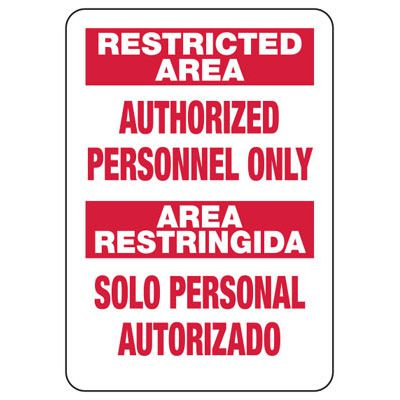 Bilingual Restricted Area - Security Sign