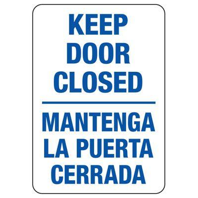 Bilingual Keep Door Closed - Security Sign