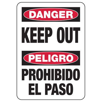 Bilingual Danger Keep Out - Security Sign
