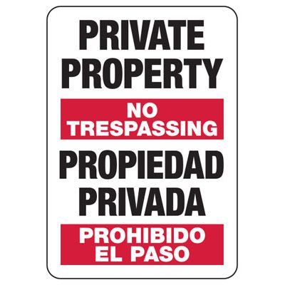 Bilingual Private Property No Trespassing - Security Sign
