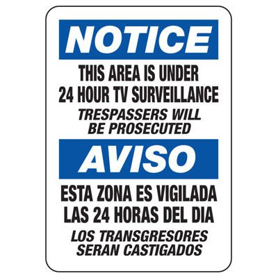 Bilingual Notice This Area Under Surveillance - Security Sign