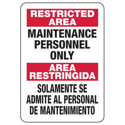 Bilingual Maintenance Personnel Only - Security Sign