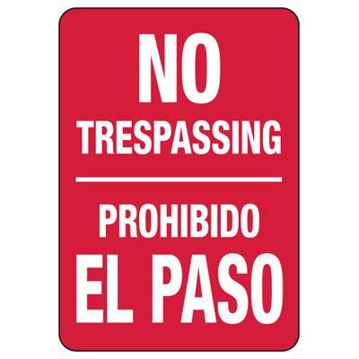 Bilingual No Trespassing - Security Sign