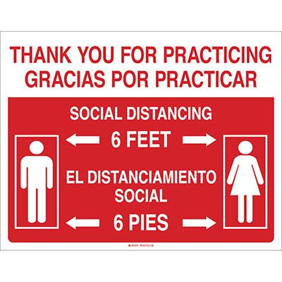 Bilingual Social Distancing Sign