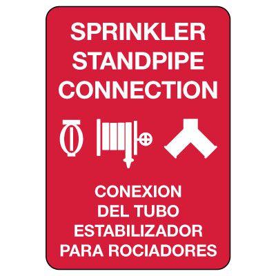 Bilingual Sprinkler Standpipe Connection Sign