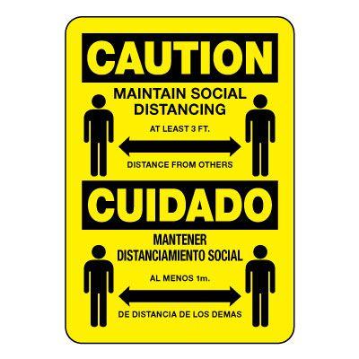 Bilingual Caution Maintain Social Distancing Sign