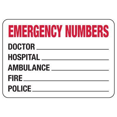 Emergency Numbers - Biohazard & Emergency Signs