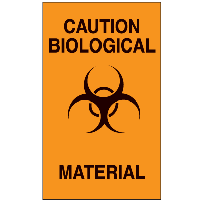 Caution Biological Material Biohazard Labels