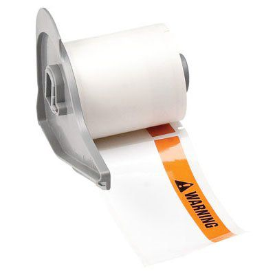 BMP®71 TLS 2200® Series ToughBond® Label: Polyester, WARNING, Black/Orange on White, 1.9 in H x 4 in W