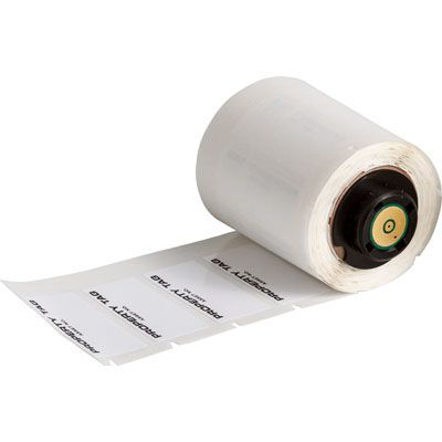 BMP®71 TLS 2200® Series WorkHorse® Label: Polyester, PROPERTY TAG, Black on Silver, 0.75 in H x 1.63 in W