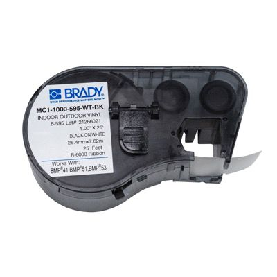 Brady MC1-1000-595-WT-BK BMP51/BMP41 Label Cartridge - Black on White
