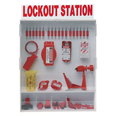 Brady Fully Equipped White Lockout Station - Contains 68 Components inc 18 locks (99696)