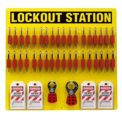 Brady Fully Equipped Yellow Lockout Station - Contains 78 Components inc. 36 Nylon Locks (51195)