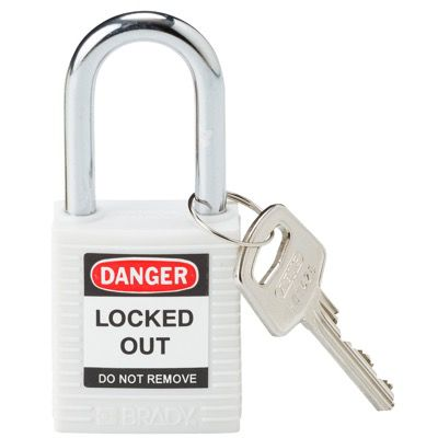 Brady Lightweight White Safety Padlock - Keyed Different - 1.5 Shackle (143123)