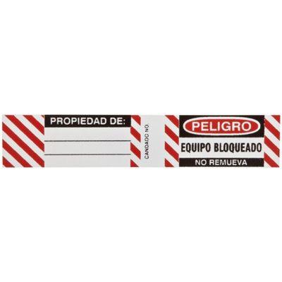 Brady Steel Padlock Label - Peligro Equipo Bloqueado No Remueva - Part Number - 50281 - 6/Pack