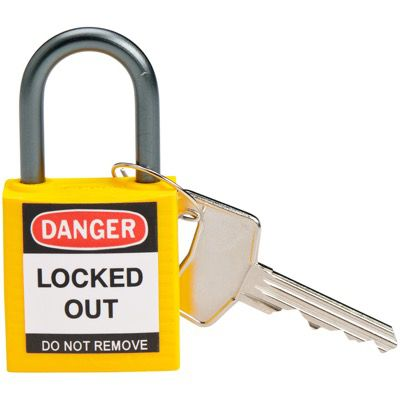 Brady Yellow Compact Safety Padlock - Keyed Different - 1 Shackle (143158)