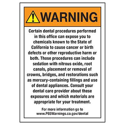California Prop 65 Labels- Dental Office