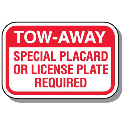 California State Handicap Signs - Tow-Away Special Placard Required