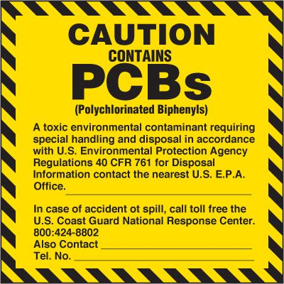 CAUTION Contains PCBs Labels