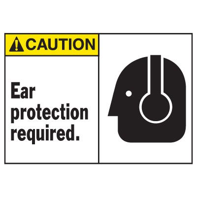 Caution Ear Protection Required Equipment Decal