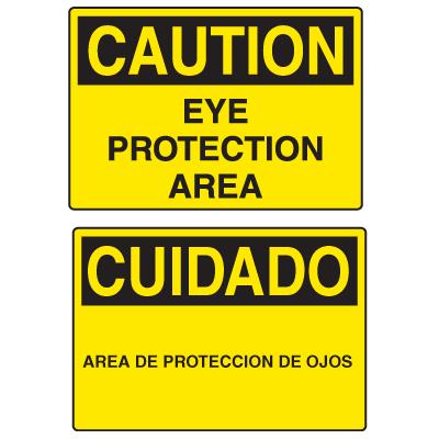 OSHA Caution Signs - Eye Protection Area - English or Spanish