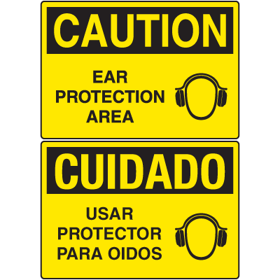 OSHA Caution Signs - Ear Protection Area - English or Spanish