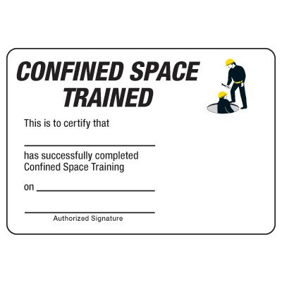 Certification Photo Wallet Cards - Confined Space Trained