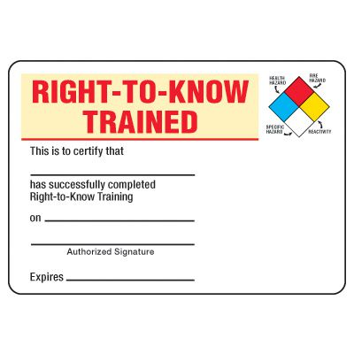 Certification Photo Wallet Cards - Right-To-Know Trained