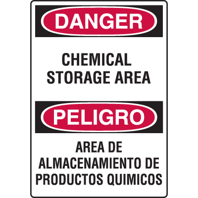 Chemical & HazMat Signs - Chemical Storage Area (Bilingual)