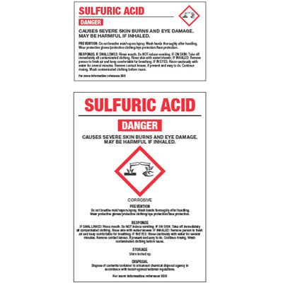 Chemical GHS Labels - Sulfuric Acid