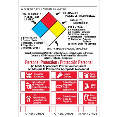 NFPA Diamond Labels w/ Classification (English/Bilingual)