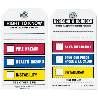 Chemical Hazard Tags - Right to Know (English/Spanish)