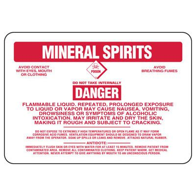 Mineral Spirits Danger Flammable Liquid - Chemical Sign