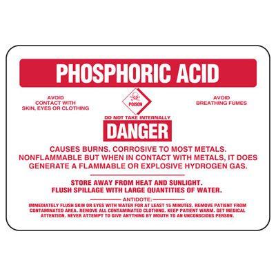 Phosphoric Acid Danger Causes Burns - Chemical Sign