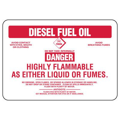 Diesel Fuel Oil Danger Highly Flammable - Chemical Sign