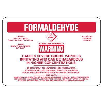 Formaldehyde Warning Causes Severe Burns - Chemical Sign