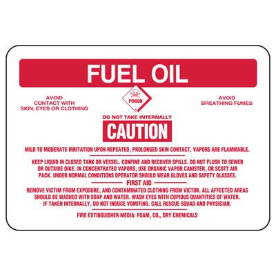 Fuel Oil Caution Mild To Moderate Irritation - Chemical Sign