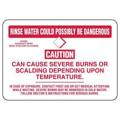 Rinse Water Could Possibly Be Dangerous Caution - Chemical Sign