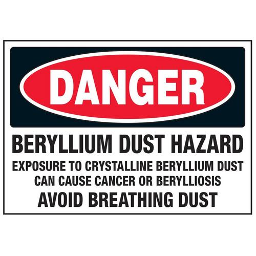 Danger Beryllium Dust Hazard Labels