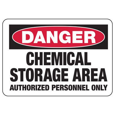 Chemical Signs Danger Chemical Storage Area Hazmat