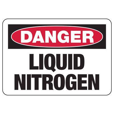 Danger Liquid Nitrogen - Industrial Chemical Warning Sign