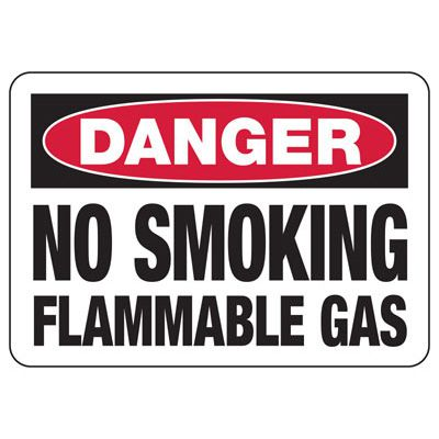 Danger No Smoking Flammable Gas - Industrial Chemical Warning Sign