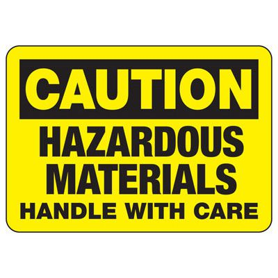 Caution Hazardous Materials - Industrial Chemical Warning Sign